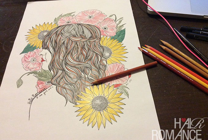 Hair Romance - Free colouring in download - coloring in download