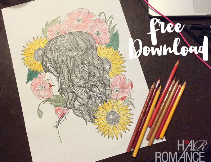 Hair Romance - Free colouring in download - free coloring in download
