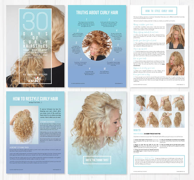 30 Days of Curly hairstyles ebook preview