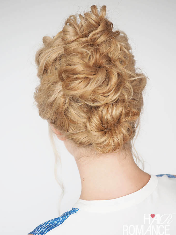 Hair Romance - 30 Curly Hairstyles in 30 Days - Day 4 - the triple bun