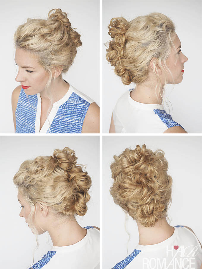 Hair Romance - 30 Curly Hairstyles in 30 Days - Day 4 - triple buns