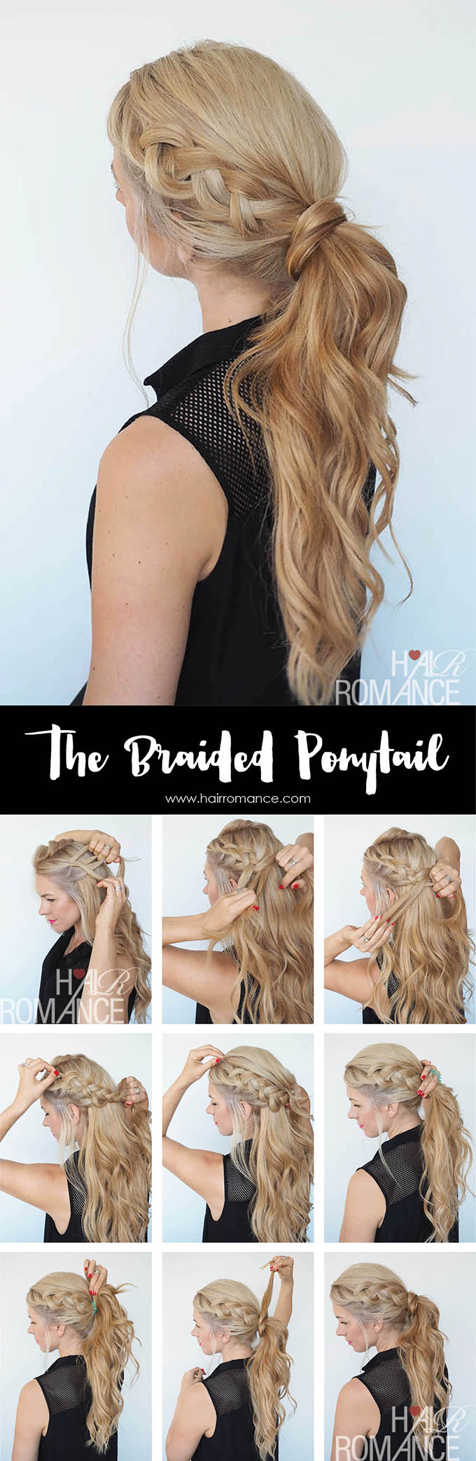Hair Romance - braided ponytail hairstyle tutorial