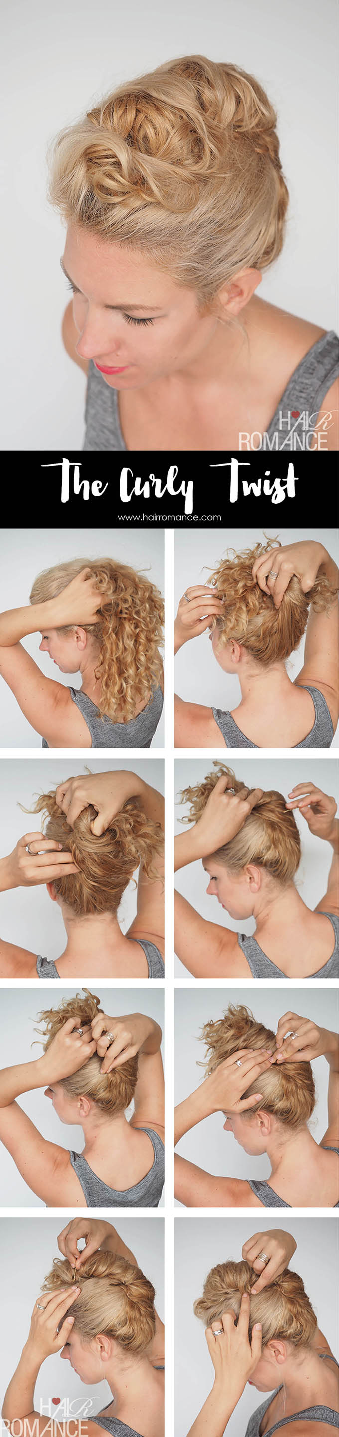 Hair Romance - Curly hair tutorial - easy curly twist updo