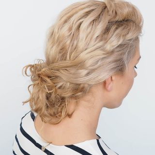 Easy curly hairstyle tutorial – Curly twist bun