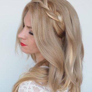 Braided headband hairstyle tutorial