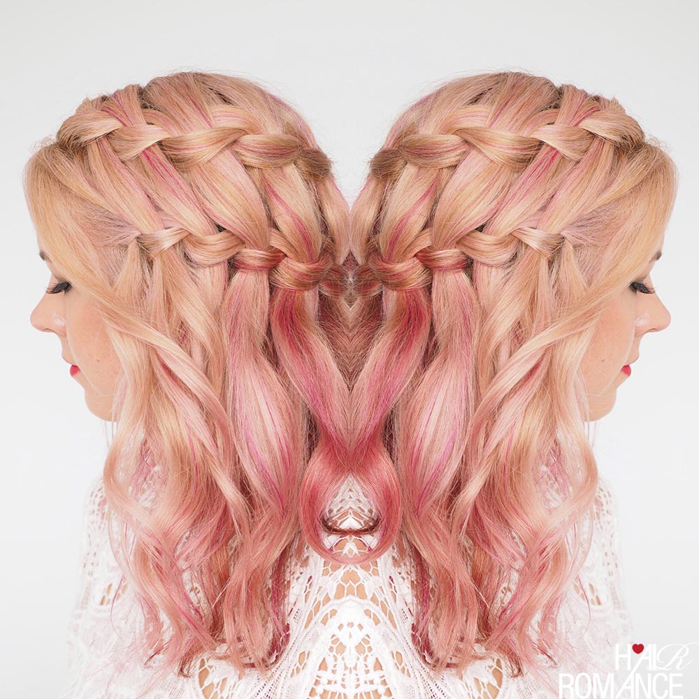 Double waterfall braid in pink hair by Hair Romance