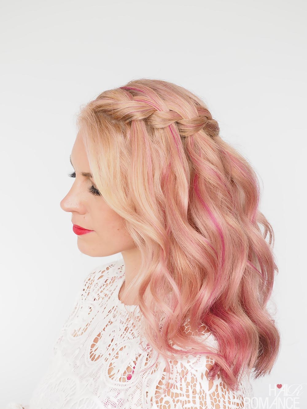 Waterfall braid in pink hair by Hair Romance